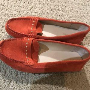 Orange suede Calvin Klein Loafers